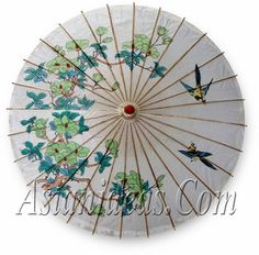 Chinese Paper Umbrellas (Green Sparrows)
