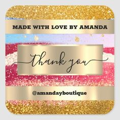 Thank You Shopping Custom Glitter Gold Square Square Sticker Anniversary Party Favors, Wedding Anniversary, Square, Bridal Shower Favors, Love Is Sweet, Business Supplies, Custom Stickers, Gold Glitter, Keep It Cleaner