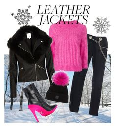 """""""Cool-Girl Style: Leather Jackets"""" by teez-biz-nez ❤ liked on Polyvore featuring Miaou, 3.1 Phillip Lim, River Island, SAM., Off-White and leatherjackets"""