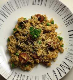 Spicy Chorizo & Garden Peas Risotto #recipe