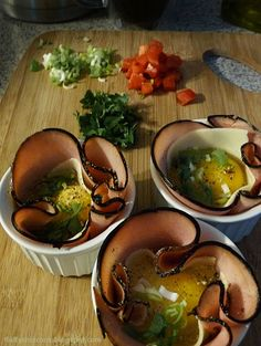 Fluffy Chix Cook: Baked Ham & Swiss Egg Cups with Spinach Tomato Green Onion Sauté