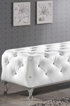 Stella White Crystal Tufted Modern Bench