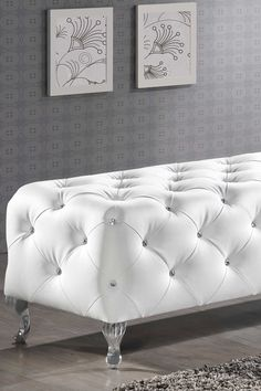 Stella White Crystal Tufted Modern Bench
