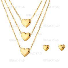 collar y aretes de corazones de dorado en acero para mujer-SSNEG323724