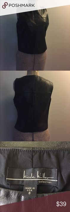 Leather Nicole Miller shirt Black leather shirt. 100% leather. Runs a little small. Very cute! Tops Tank Tops