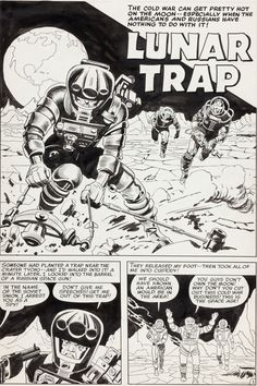"Original Comic Art: Complete Story, Jack Kirby and Al Williamson Race For the Moon #2 Complete 5-Page Story ""Lunar Trap"" Original Art (Harvey, 1958)"