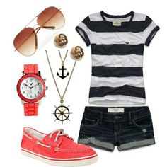abercrombie striped navy tee with denim shorts and coral sperry's: accessories; anchor necklace and wheel necklace with wrapped gold earrings and a coral colored watch with light tinted aviators