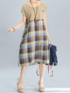 NewChic - NewChic Casual Patchwork Plaid Printed Short Sleeve Dresses For Women - AdoreWe.com