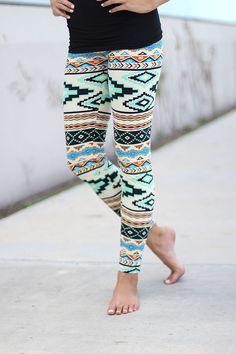 Multi Color Aztec Print Leggings