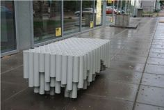 Rainwater Pipe Bench - I'm willing to bet that almost all public seating options aren't as eco-friendly as the Rainwater Pipe Bench. This bench was designed by OneTwo out. Pvc Furniture, Street Furniture, Recycled Furniture, Furniture Design, Outdoor Furniture, Outdoor Decor, Outdoor Seating, Pipe Bookshelf, Eco Design
