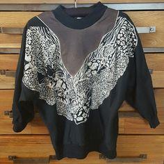 PRICE DROP!! Vintage Quarter Sleeve Sweatshirt Black, white and grey. Animal print around front and back of garment. Three quarter sleeve. Sweaters Crew & Scoop Necks
