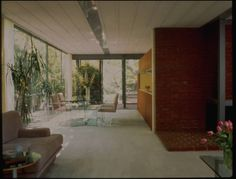 Architectural Teaching Slide Collection - Rollé residence, Los Angeles, Calif., 1984? - Interior photograph of the 2nd floor addition to the residence of Della and Gary Rollé (previously, the Seidel house, built 1960, addition 1984), 2727 Mandeville Canyon Road, Brentwood, Los Angeles, California, 1984? Designed by Pierre Koenig.