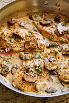 One Skillet Chicken with Garlicky Mushroom Cream Sauce - ready in 30 minutes and. - - One Skillet Chicken with Garlicky Mushroom Cream Sauce - ready in 30 minutes and perfect over a bed of pasta! Mushroom Cream Sauces, Creamy Mushroom Chicken, Chicken Mushroom Recipes, Chicken Thighs With Mushrooms, Mushrooms Recipes, Healthy Mushroom Recipes, Mushroom Stuffed Chicken, Garlic Chicken Recipes, Chicken Recipes With Sauce