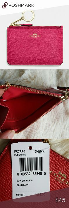 "🎀NWT🎀 Coach Key Pouch Brand new Coach Key Pouch.  Perfect for on the go,  can attach to keys.  ● Crossgrain leather ● Zip top closure ● Hidden key ring ● Color: Bright Pink ● 5.25"" x 3.5"" Coach Accessories Key & Card Holders"