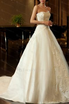 US $887.00 | Satin Scoop Chapel Train A-line Wedding Dress with Beading