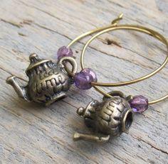 A Mad Hatter Tea Part Hoop Earrings