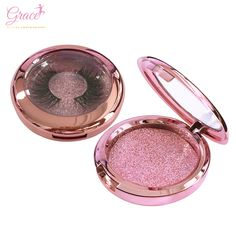 694f0c062ca wholesale Own brand Private Label custom logo rose gold glitter round  window plastic empty luxury false eyelash packaging box