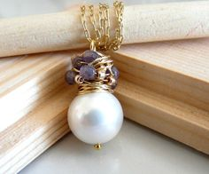 The Franca  charming necklace with big white shell by anthology27, $27.95