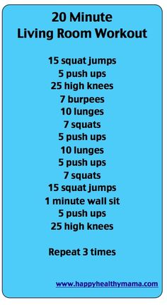 I love workouts I can do at home and this one is good.  I tried it the other night and loved it.  For variation change it to timed drills and see how many you can do in 1-2 minutes.  What better way to pass through silly 30 minute sitcoms!  20 min living room workout.