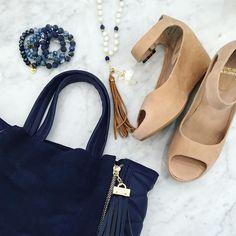 Feeling fallish with fabulous new shoes from @johnstonmurphy and classic navy accessories. #tfssi #stsimonsisland #seaisland #newshoes #accessories #beads #tassel #fall2016 #transitiontofall @gracefullgoods @erimishbracelets