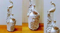 Wine Bottle Art, Glass Bottle Crafts, Bottle Vase, Bottle Bottle, Glass Bottles, Altered Bottles Tutorial, Indian Room Decor, Diy Glasses, Peacock Design