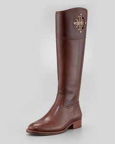 I have been waiting on these all spring and summer 2013! Kiernan Leather Logo Riding Boot, Almond by Tory Burch at Neiman Marcus.