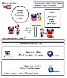 Eu Amo Artesanato: Porta treco Mickey e Minnie com moldes Minnie Y Mickey Mouse, Map, Ideas, Embellishments, Craft, Manualidades, Pencil Holders, Location Map, Maps