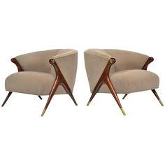 Pair of Sculptural Lounge Chairs by Karpen | From a unique collection of antique and modern lounge chairs at https://www.1stdibs.com/furniture/seating/lounge-chairs/