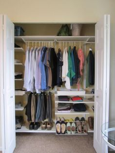 Small Master Bedroom Closet makeover using IKEA Algot system.  Such a fun before and after renovation.