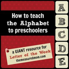 Are you wondering how to teach the alphabet to preschoolers? Or just looking for fresh ideas? Here's a link to hundreds of ideas for learning the alphabet.One for each letter of the alphabet Preschool Letters, Alphabet Activities, Preschool Kindergarten, Preschool Learning, Preschool Activities, Teaching Kids, Alphabet Crafts, Alphabet Letters, Teaching Resources