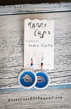 OKC Thunder Bottle Cap Earrings by HappyCaps2014 on Etsy, $10.00 CUSTOM ORDERS AVAILABLE