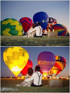 Engagement Photos with Hot Air Balloons captured by Jonathan Ivy Photography
