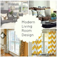 Modern living room design ideas -- lots of great ideas on how to pull modern prints and colors into your space!