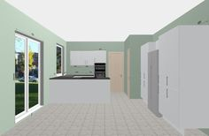 Grey Matte Kitchen with Black Corian Worktops. Tall Wall Cabinets provide additional storage.  Free 3D Kitchen Planner.