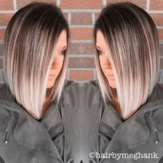 Dark brown with ash blonde ends. dark brown with ash blonde ends ombre medium hair Ombre Hair Color, Cool Hair Color, Hair Color And Cut, Ombre Style, Ombre Hair Bob, Long Bob Ombre, Bob Hair Colour Ideas, Lob Ombre, Ombre Bob Haircut