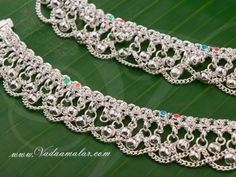 Pretty imitation silver anklets with multicolor enamels to add on beauty apt to wear casually suits the modern young girls Payal Designs Silver, Silver Anklets Designs, Anklet Designs, Ankle Jewelry, Gold Jewelry, Jewelry Accessories, Jewellery, Blouse Designs, Ornament