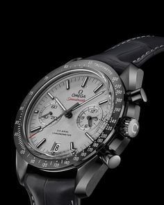 OMEGA Watches: Speedmaster Moonwatch Omega Co-Axial Chronograph 44.25 mm - Grey ceramic on leather strap - 311.93.44.51.99.001