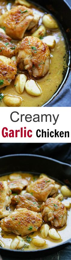 Creamy Garlic Chicken – crazy delicious skillet chicken with creamy garlic sauce. Perfect with pasta and dinner is ready in 20 mins | rasamalaysia.com
