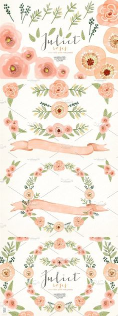 Watercolor coral olive floral wreath #clipart #floralclipart
