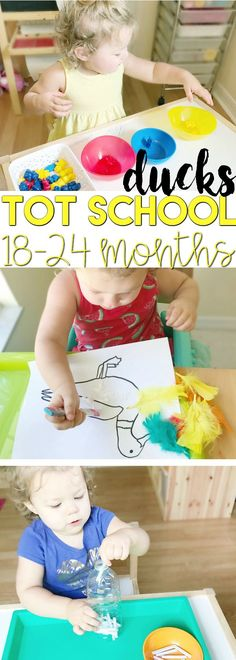 This Tot School Duck Unit is intended for 18-24 month old toddlers. It includes one week of plans including fine motor skills tot trays activities, sensory box ideas, art project activities, book lists, and printables.