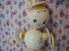 Vintage Baby Toy Rattle Crib 1940's Plakie Toy by ChickenLittleToo