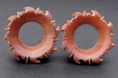 "5/8"" Pair Dyak Sunburst Tunnel Red Saba Wood Plugs Organic Hand Carved Body Piercing Jewelry gauge on Etsy, $19.36 CAD"