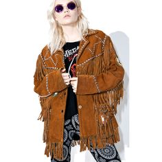 Designer Clothes, Shoes & Bags for Women Brown Suede Jacket, Studded Leather Jacket, Suede Leather, Vintage Patches, Fringe Jacket, Vintage Jacket, Swagg, Bell Sleeve Top, Fringe Trim