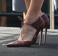 Eva Mendes wearing Bionda Castana pumps for her interview with Mario Lopez on Extra! at Universal Studios in Los Angeles on September 25, 2013