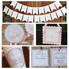 First Communion/ Baptism party decor. 5 piece religious party box. Girl / Pink / Silver.  Fully assembled and customizable. by CharmingTouchParties on Etsy