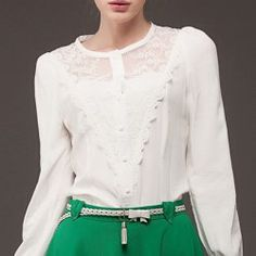 Solid Color Long Sleeve Round Collar Lace Splicing Single-Breasted Shirt For Women