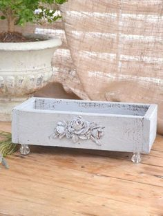 Shabby Charming Blue Grey Wooden Box. Love the crystal feet, could use a drawer from an old chest to do this :)