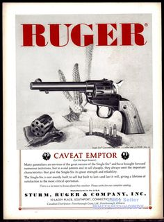 1962 RUGER Single-Six Convertible Revolver AD Vintage Handgun ADVERTISING #MarlinLoading that magazine is a pain! Get your Magazine speedloader today! http://www.amazon.com/shops/raeind