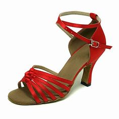 High Quality Red Satin Upper Ballroom Dance Shoes Latin Shoes for Women – US$ 29.99