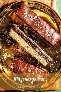 Millonariyo Bars (Filipino Style Millionaire Bars) Recipe Sweet Recipes, Whole Food Recipes, Dessert Recipes, Desserts, Filipino Food, Filipino Recipes, Millionaire Bars, Light Recipes, Chocolate Recipes